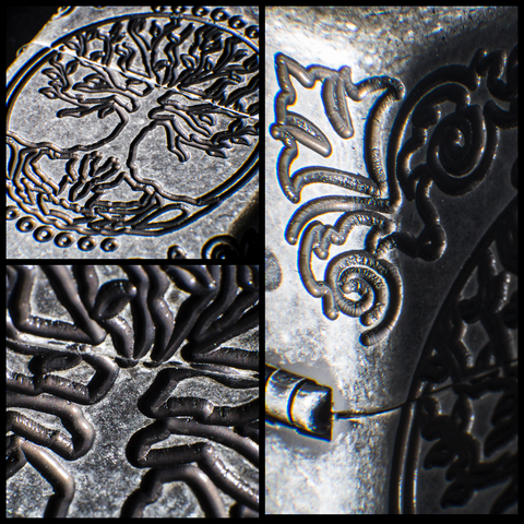 Armor® Tree of Life Windproof Lighter showing the deep carvings on the lighter