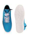 FAUSTO Men's Sky Blue Casual Synthetic Lace-Up Sneakers