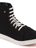 FAUSTO Men's Black Casual Canvas Lace-Up Sneakers