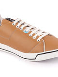 FAUSTO Men's Beige Casual Synthetic Lace-Up Sneakers