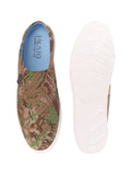 FAUSTO Men's Khaki Casual Canvas Slip-On Shoes