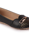 FAUSTO Women's Black Casual Synthetic Slip-On Ballerina
