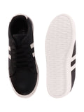 FAUSTO Women's Black Casual Synthetic Lace-Up Sneakers