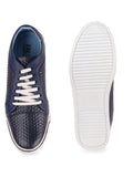 FAUSTO Men's Blue Casual Synthetic Lace-Up Sneakers