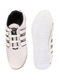 FAUSTO Men's White Casual Synthetic Lace-Up Sneakers