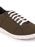 FAUSTO Men's Olive Green Casual Canvas Lace-Up Sneakers