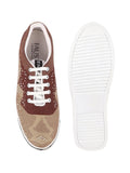 FAUSTO Men's Beige Casual Canvas Lace-Up Sneakers