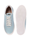 FAUSTO Women's Sky Blue Casual Synthetic Lace-Up Sneakers