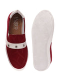 FAUSTO Women's Cherry Casual Canvas Slip-On Loafers