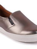 FAUSTO Women's Silver Casual Faux Leather Slip-On Loafers
