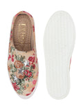 FAUSTO Women's Cream Casual Canvas Slip-On Loafers