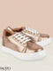 FAUSTO Women's Golden Casual PU Lace-Up Sneakers