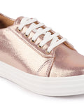 FAUSTO Women's Pink Casual PU Lace-Up Sneakers