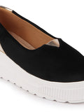 FAUSTO Women's Black Casual Velvet Slip-On Sneakers