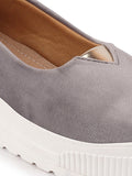 FAUSTO Women's Grey Casual Velvet Slip-On Sneakers