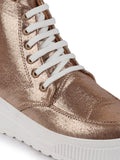 FAUSTO Women's Golden Casual PU Lace-Up Ankle Sneakers