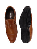 FAUSTO Men's Tan Formal Synthetic Slip-On Shoes