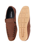 FAUSTO Men's Tan Casual Synthetic Hook & Loop Sandals