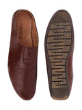 FAUSTO Men's Brown Ethnic PU Slip-On Juttis