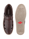 FAUSTO Men's Brown Casual Synthetic Hook & Loop Sandals
