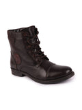 FAUSTO Men's Brown Casual Leather Lace-Up Boots