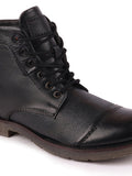 FAUSTO Men's Black Casual Leather Lace-Up Boots