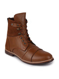 FAUSTO Men's Tan Casual Synthetic Lace-Up Boots