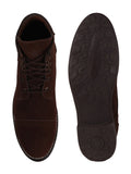 FAUSTO Men's Brown Casual Suede Lace-Up Boots