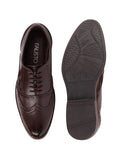 FAUSTO Men's Brown Formal Synthetic Lace-Up Brogue Shoes