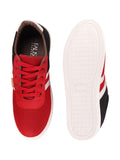FAUSTO Men's Red Casual Mesh Lace-Up Sneakers
