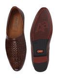 FAUSTO Men's Brown Formal PU Slip-On Shoes