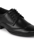 FAUSTO Men's Black Formal Leather Lace-Up Brogue Shoes