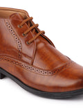 FAUSTO Men's Tan Formal PU Lace-Up Boots