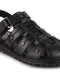 FAUSTO Men's Black Casual Leather Speed Laces Sandals