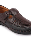 FAUSTO Men's Brown Casual PU Speed Laces Sandals
