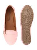 FAUSTO Women's Pink Casual PU Slip-On Ballerina