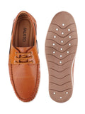 FAUSTO Men's Tan Casual PU Lace-Up Boat Shoes