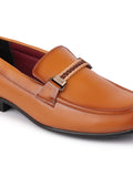 FAUSTO Men's Tan Formal Synthetic Slip-On Loafers