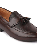 FAUSTO Men's Brown Casual PU Slip-On Loafers