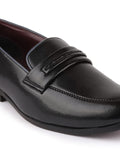 FAUSTO Men's Black Formal TPU Slip-On Loafers