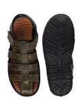 FAUSTO Men's Olive Green Casual PU Hook & Loop Sandals