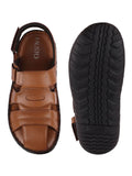 FAUSTO Men's Tan Casual Leather Hook & Loop Sandals