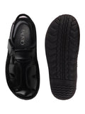 FAUSTO Men's Black Casual Leather Hook & Loop Sandals