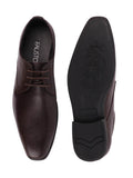 FAUSTO Men's Brown Formal Synthetic Lace-Up Derby Shoes