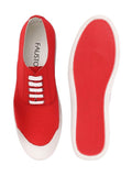 FAUSTO Men's Red Casual Canvas Lace-Up Sneakers