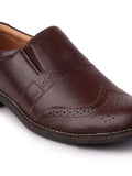 FAUSTO Men's Brown Casual Synthetic Slip-On Loafers