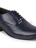 FAUSTO Men's Blue Formal Synthetic Lace-Up Oxford Shoes