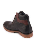 FAUSTO Men's Black Casual Synthetic Lace-Up Boots