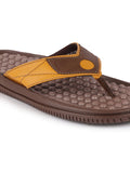 FAUSTO Men's Brown/Tan Casual Synthetic Slip-On Slippers