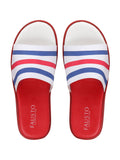 FAUSTO Men's Red/Blue Casual Synthetic Slip-On Flip-Flops